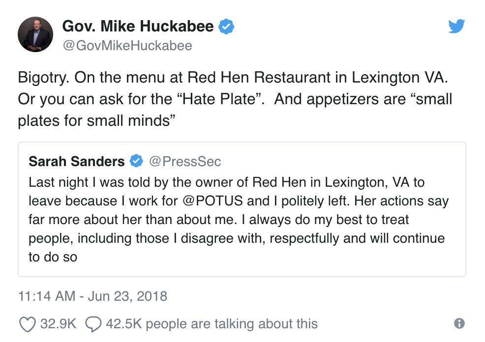 Huckabee tweet